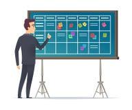 Bordo di programma di affari La condizione dell'uomo d'affari vicino ai gruppi di pianificazione e della lista di controllo il ve illustrazione vettoriale