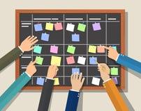 Bordo di programma del calendario con il piano di collaborazione illustrazione vettoriale