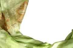Bordo di seta verde della sciarpa Fotografia Stock
