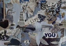 Bordo di umore, strato dell'atmosfera del collage con gli elementi naturali con il blu di ghiaccio, bianco, nero e grigio e blu c Fotografia Stock Libera da Diritti
