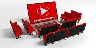 Bordo di valvola di film del cinema su uno schermo del computer portatile sedie del cinema intorno, fondo bianco illustrazione 3D Immagini Stock Libere da Diritti