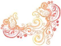Bordo di vettore di Doodle di turbinii e dei fiori Immagine Stock