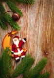 Bordo e decorazione dell'albero di abete di natale Immagini Stock