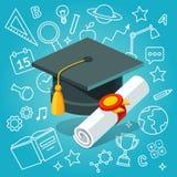 Bordo e diploma del mortaio del cappuccio dello studente universitario royalty illustrazione gratis