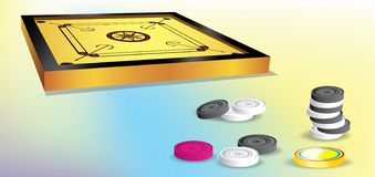 Bordo e monete di Carrom royalty illustrazione gratis