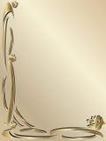 Bordo elegante dell'oro dell'invito di cerimonia nuziale Fotografia Stock Libera da Diritti