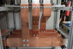 Bordo elettrico di alto potere con le barre di rame Immagine Stock Libera da Diritti