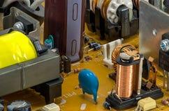 Bordo elettronico con le parti Fotografie Stock