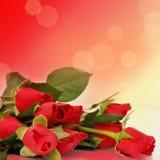 Bordo floreale con le rose rosse Fotografia Stock Libera da Diritti