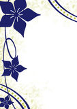 Bordo floreale di Grunge dell'oro e dell'azzurro Fotografia Stock