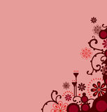 Bordo floreale rosso Fotografia Stock