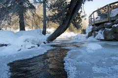 Bordo ghiacciato del fiume Fotografie Stock