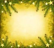 Bordo giallo del grunge con l'abete rosso e le stelle Fotografia Stock Libera da Diritti