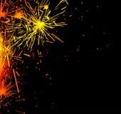 Bordo luminoso delle scintille del fuoco d'artificio Fotografia Stock