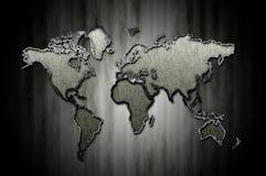 Bordo modellato del segno della mappa di mondo Fotografia Stock