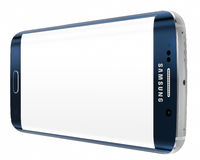 Bordo nero di Sapphire Samsung Galaxy S6 con lo schermo in bianco Immagini Stock Libere da Diritti
