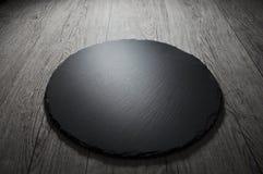 Bordo nero vuoto dell'ardesia per la ricetta del testo o il menu della carne fotografie stock libere da diritti