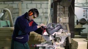 Bordo professionale della marcatura del carpentiere per tagliare video d archivio