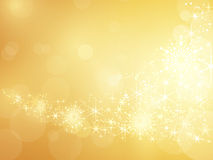 Bordo scintillante dorato del fiocco di neve e della stella Fotografia Stock Libera da Diritti