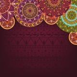 Bordo tło z etnicznymi mandalas Zdjęcia Royalty Free