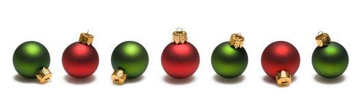 Bordo verde e rosso delle sfere di natale Fotografia Stock Libera da Diritti