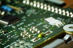 Bordo verde obsoleto del computer, dettaglio di tecnologia Immagine Stock Libera da Diritti