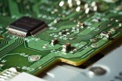 Bordo verde obsoleto del computer, dettaglio di tecnologia Fotografia Stock Libera da Diritti
