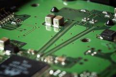 Bordo verde obsoleto del computer, dettaglio di tecnologia Immagine Stock