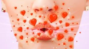 Bordos bonitos da senhora com corações vermelhos bonitos imagens de stock royalty free