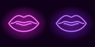 Bordos de néon roxos e violetas ilustração do vetor