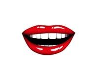 Bordos de sorriso bonitos do vermelho da mulher Pônei sonolento Ilustração Eps 10 do vetor Fotografia de Stock