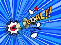 bordos fêmeas do estilo do pop art com a bola de futebol do objetivo do anunciador do megafone ilustração do vetor