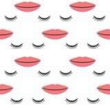 Bordos fêmeas e olhos fechados com pestanas longas Teste padrão sem emenda ilustração do vetor