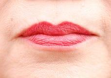 Bordos lustrosos vermelhos da mulher Fotografia de Stock