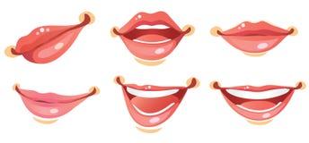 Bordos 'sexy' do sorriso da mulher Imagem de Stock
