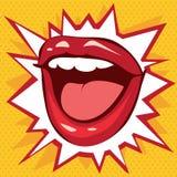 Bordos vermelhos do sorriso em um fundo das estrelas ilustração royalty free