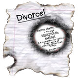 Bords brûlés par définition de divorce Images libres de droits