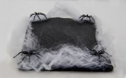 Bordschotel met spinnen en spinneweb voor Halloween wordt verfraaid dat royalty-vrije stock fotografie