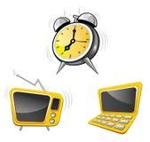 Borduhr, Fernsehapparat, Rechner Lizenzfreies Stockfoto