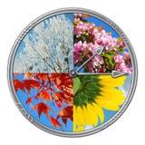 Borduhr mit vier Jahreszeiten des Jahres Lizenzfreies Stockfoto