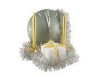Borduhr mit Weihnachtsdekoration Lizenzfreies Stockfoto