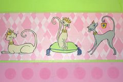 Bordure with fancy cats Stock Images