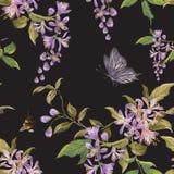Borduurwerk bloemen naadloos patroon met lilac bloesem, vlinder Royalty-vrije Stock Afbeelding
