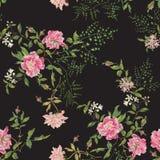Borduurwerk bloemen naadloos patroon met wilde rozen en sering Stock Foto's