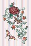 Borduurwerk bloemenflarden met rozen en exotische vlinders Stock Afbeelding