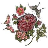 Borduurwerk bloemenflarden met rozen en vlinders Stock Foto