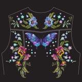 Borduurwerk bloemenpatroon met pansies voor de rug van het jeansjasje stock illustratie