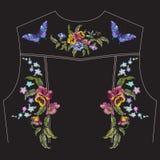Borduurwerk bloemenpatroon met pansies voor de rug van het jeansjasje Royalty-vrije Stock Afbeelding