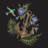 Borduurwerk exotisch bloemen en ankerpatroon met kolibrie Royalty-vrije Stock Fotografie