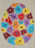 Borduurwerk - Groot Paasei met bloemenpatroon 1 Stock Afbeelding